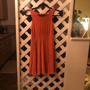 Free people orange velvet skater dress